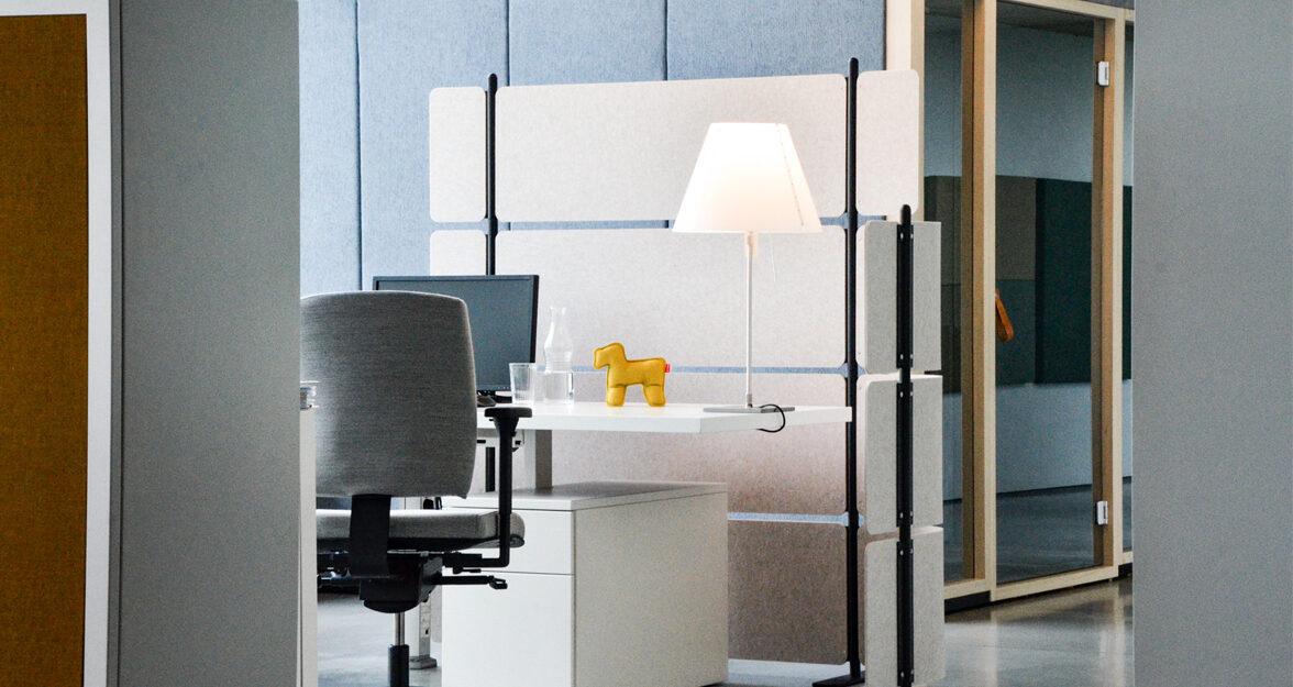 vilt scheidingswand, bureau, bureaustoel