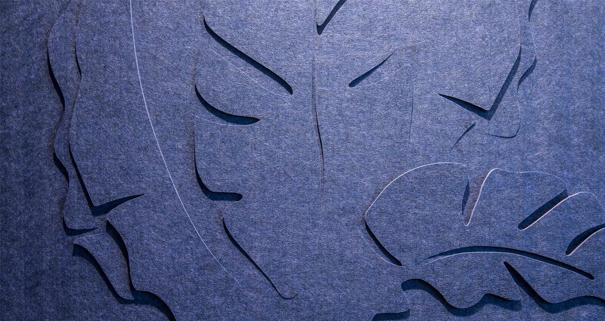 bladeren gesneden uit vilt