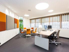 Kantoor met bureau, vergaderruimte en akoestische panelen