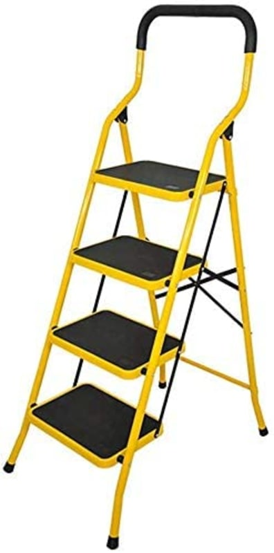 4 Steps Folding Steel Wide Step Ladder