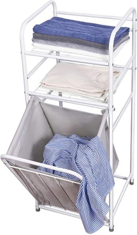 Laundry Basket with 2-Tier Storage Shelf