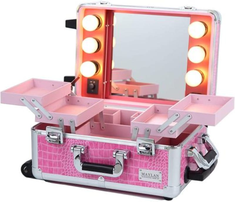MAYLAN Makeup Cosmetic Train Case With Mirror And Lights