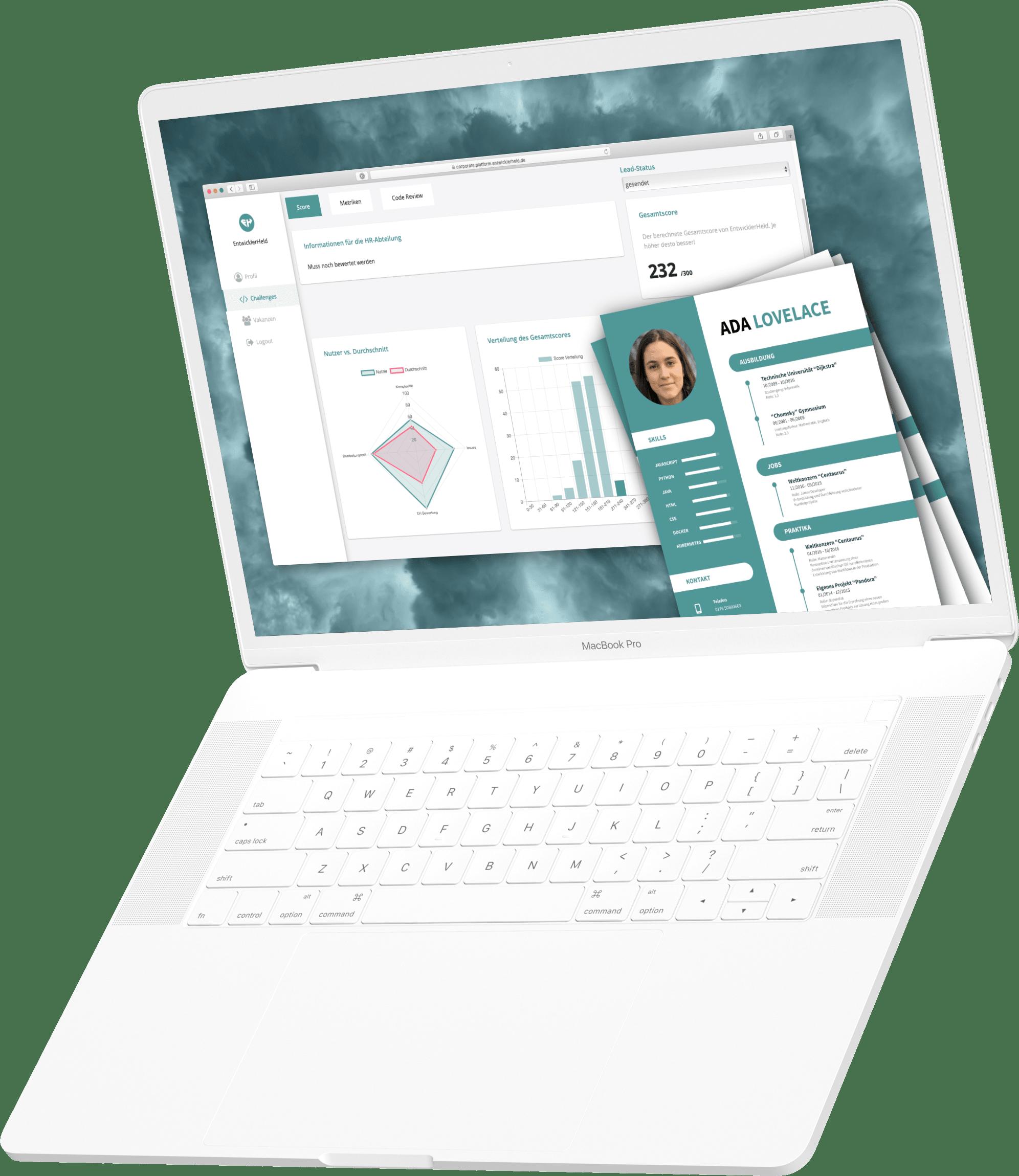 Laptop mit interaktiver Stellenanzeige auf EntwicklerHeld