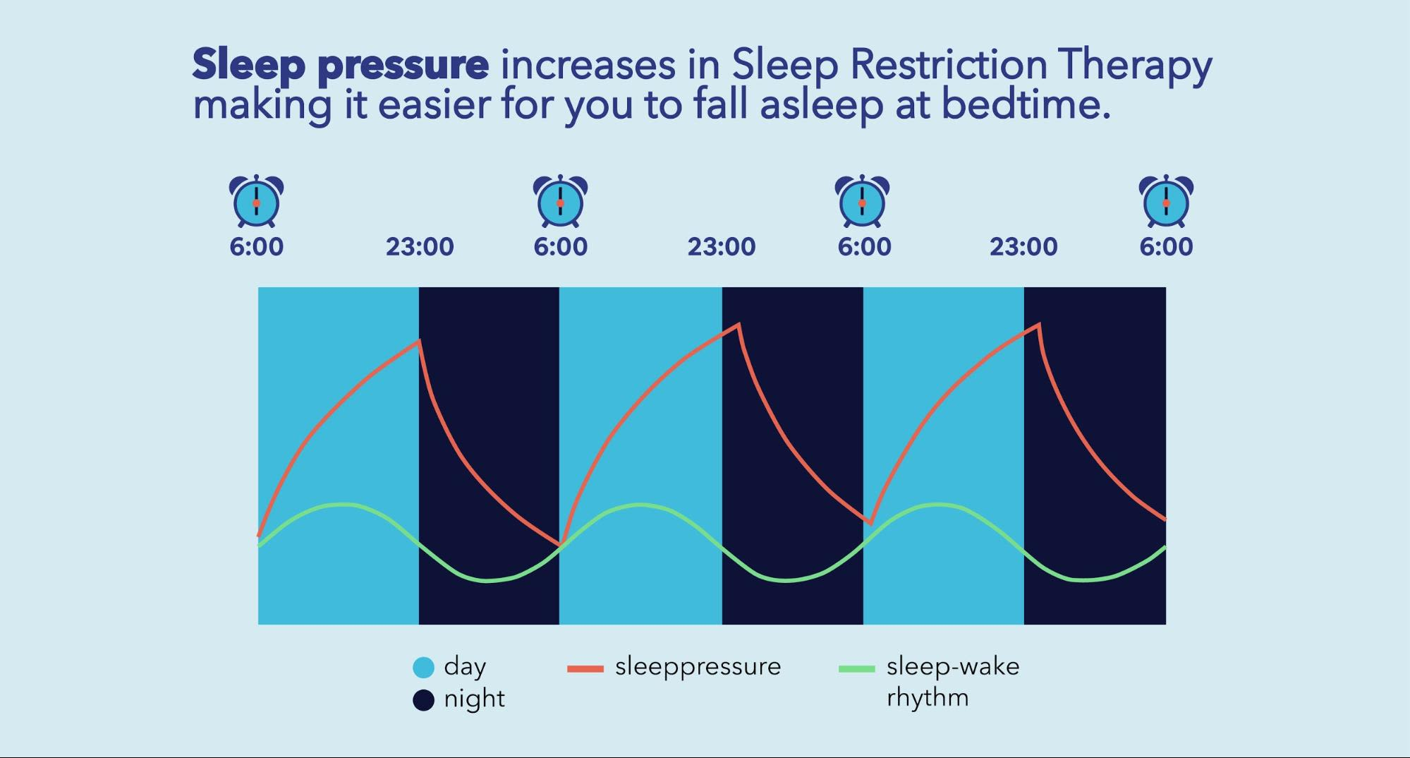 Sleep pressure increases in Sleep Restriction Therapy making it easier for you to fall asleep at bedtime.