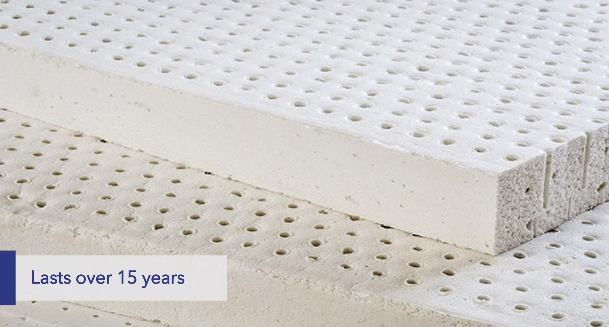 Latex mattresses last over 15 years