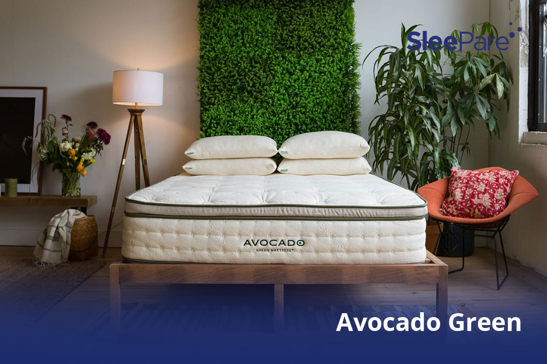 An Avocado Green Mattress shown in a green and healthy environment