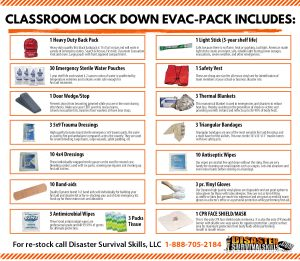Classroom lock down evacuation pack