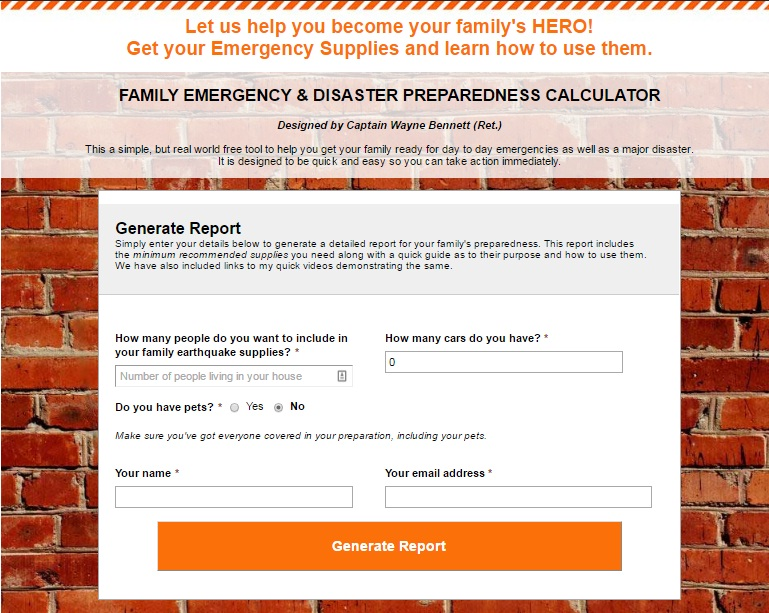 Brand New: Family Emergency & Disaster Preparedness Calculator