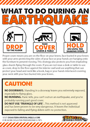 drop cover and hold on posters for earthquake preparedness