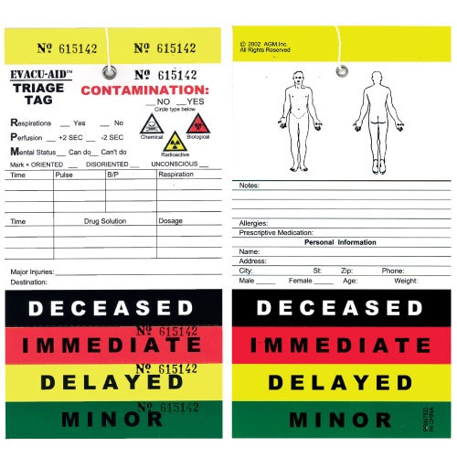 triage tags for search and rescues supplies