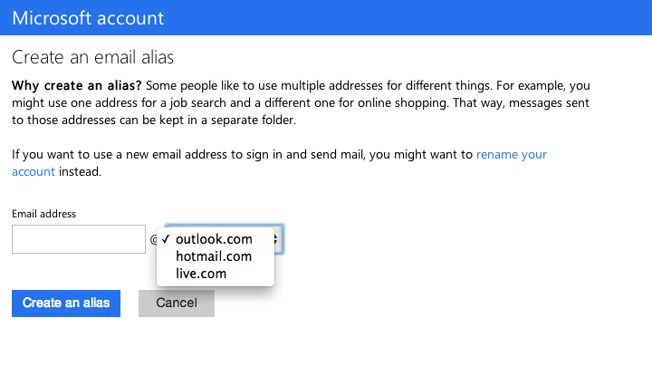 Screenshot of the Outlook alias page