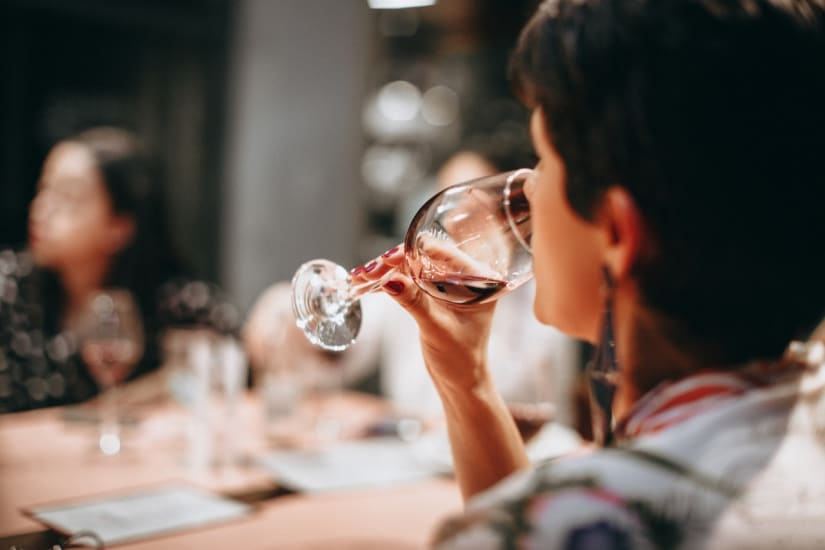 Person learning how to taste wine