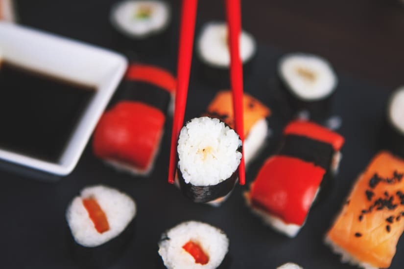 sushi and chopsticks illustrating you can have wine with sushi