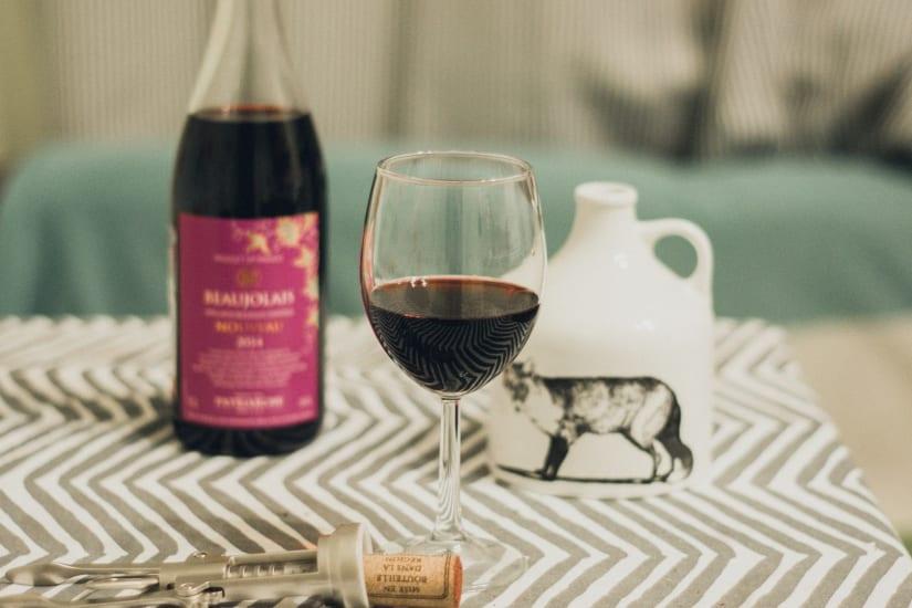 Beaujolais wine and glass reminding of Beaujolais food pairing