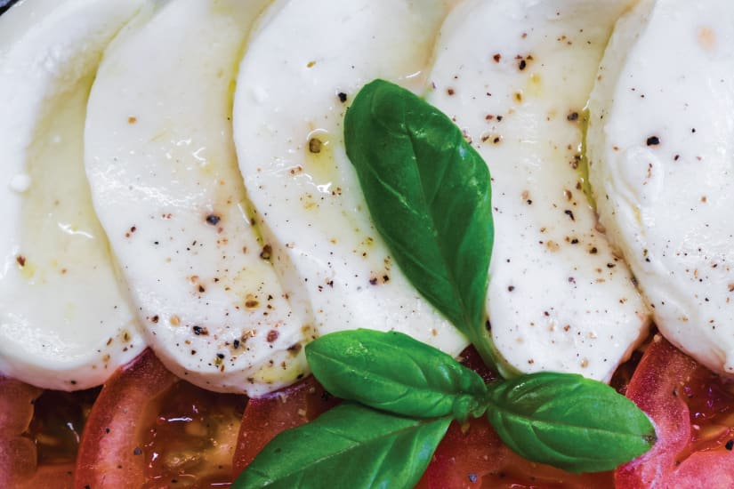 mozzarella cheese with fresh basil and pepper