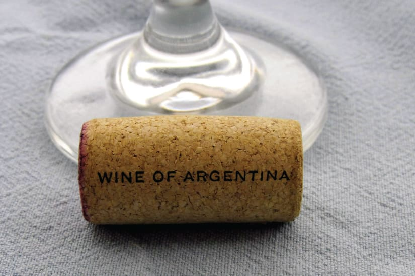 cork with wine of argentina written on it