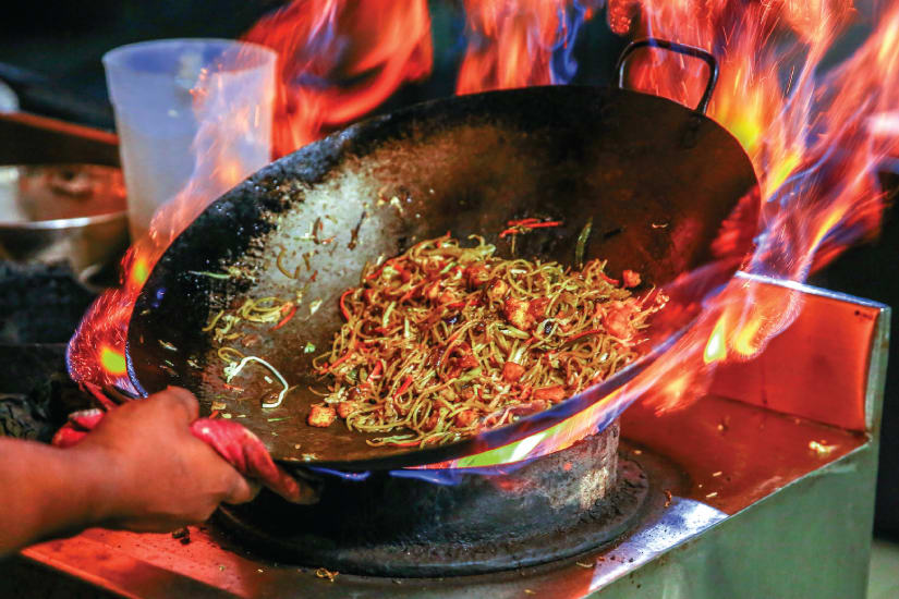 wok over the fire