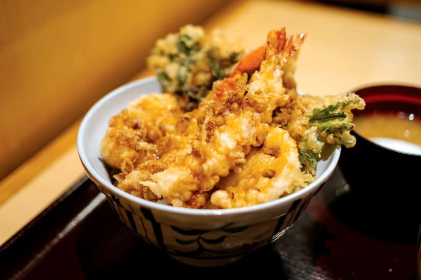 tempura served on bowl