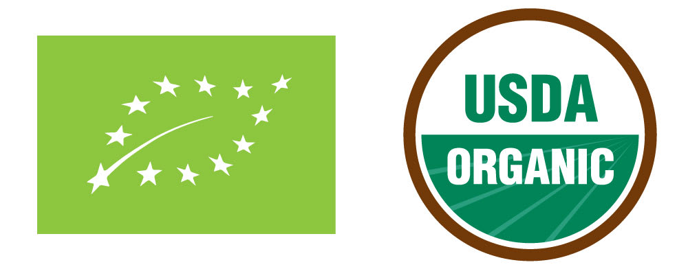 Organic logos from the EU and the USA