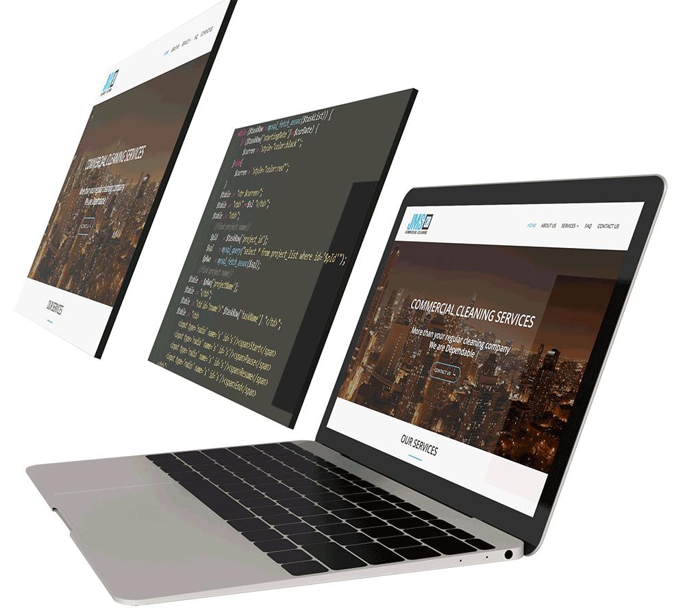 professional website design showing code