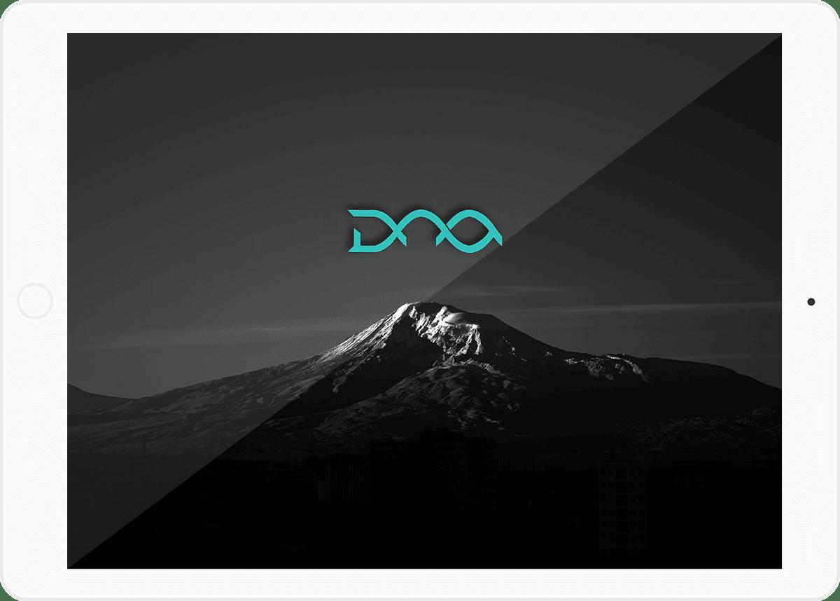 DNA Web Studio logo on tablet