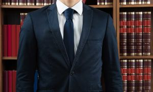 Illinois lawyer wearing a suit