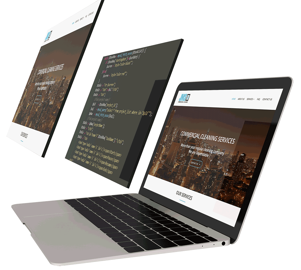 professional website design showing code