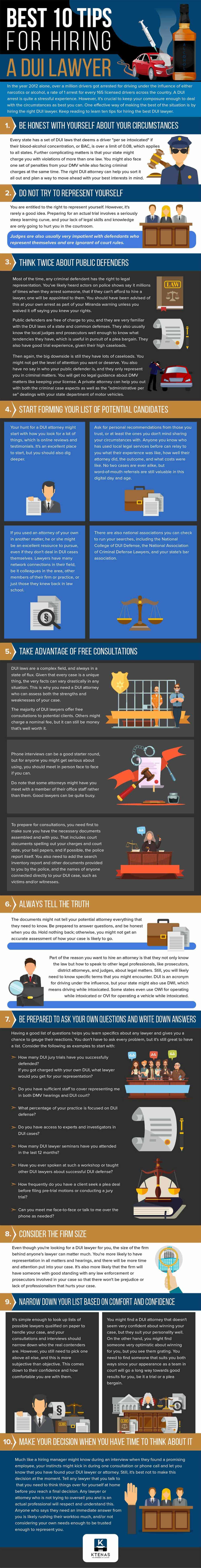 10 Tips for Hiring a DUI Lawyer - Infographic