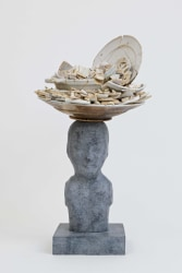 Bouke de Vries, Bronze bust with white delft ceramic trash