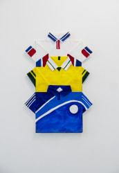 Dina Danish, Three Sports Shirts, White, Yellow, Blue