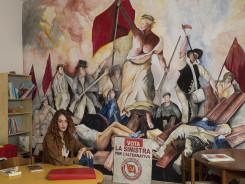 "Jan Banning, Kantoor ""Emiliano Zapata"" van de Partito Rifondazione Comunista (PRC) in Acerra (Italië), met partijlid Maria"
