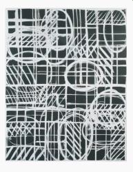 Ien Lucas, 24.07.1998 serie 'compositie wit op zwart, notities in lijn 1'