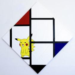 Michael Pybus, Michael Pybus Lozenge Composition No IV, with Red, Blue, Pikachu and Black