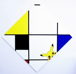 Michael Pybus, Lozenge Composition with Pikachu, Black, Blue and Red