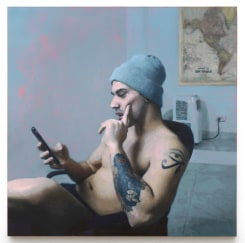 David Haines, Man Reading Messages (Pawel)