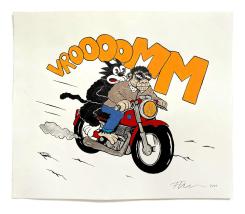 Floor van het Nederend, Monkey & Malvin on a motor