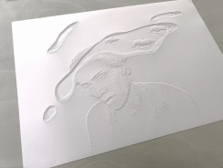 Amparo Sard, Amparo Sard, perforated paper relief 2020, 0.70 x 1.m.