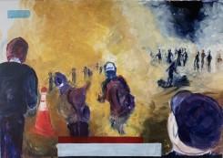 Atousa Bandeh Ghiasabadi, Yellow painting of Burning city 2