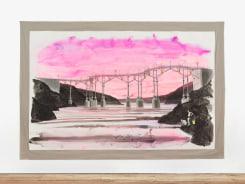 Charles Avery, Untitled (Boys fishing beneath bridge with pink sky)