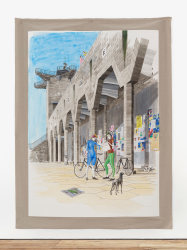 Charles Avery, Untitled (Two cyclists beneath the porticos of the City Wall)