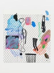 Melissa Gordon, Female Readymade (Hat, microphone, belt, chair, Attie's painting, stockings