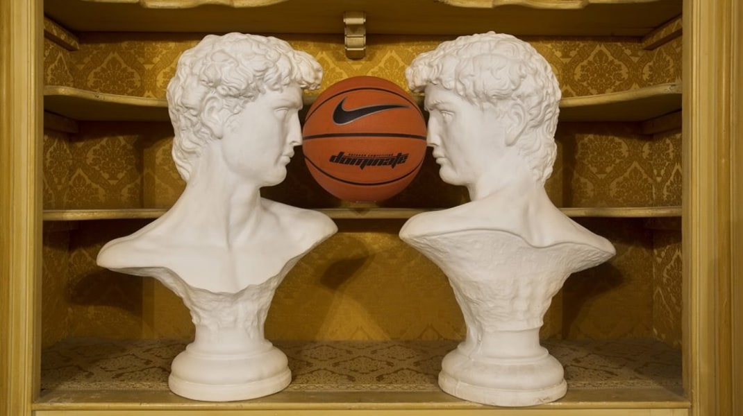 Daniel van Straalen, David.David, plaster and basketball, 2017