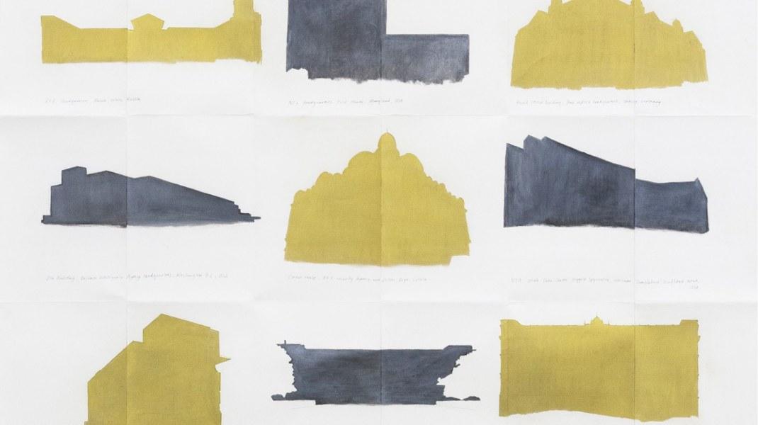 Natasja van Kampen, CIA -KGB locations, 2018, gold powder, graphite powder, graphite on folded paper, 100 cm x 135 cm
