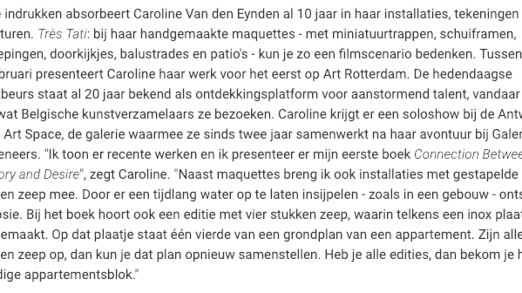 Caroline Van den Eynden, Interview with the artist in Belgian periodical Knack Weekend (30/01/2019)