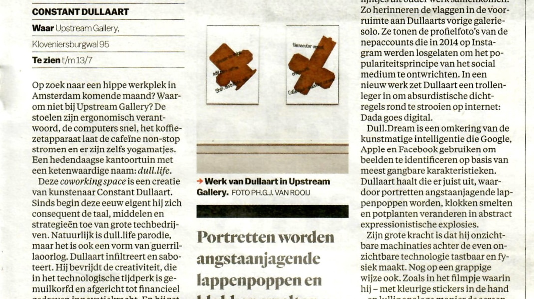 Constant Dullaart, Review about the exhibition dull.life in Het Parool, June 2019