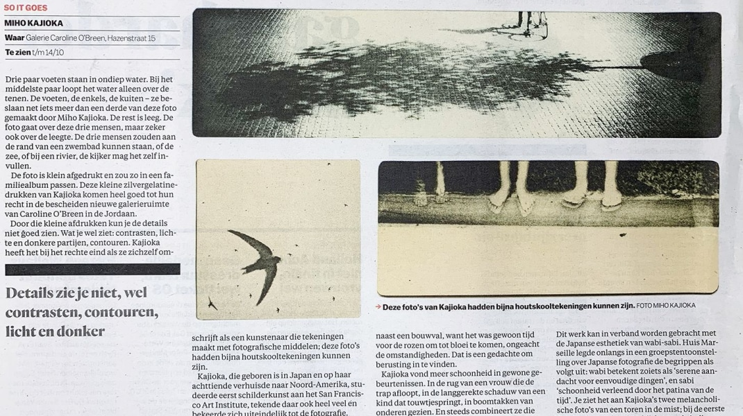 Miho Kajioka, Een review van Sophie Zürcher over de solo expositie: So it Goes, in het Parool.
