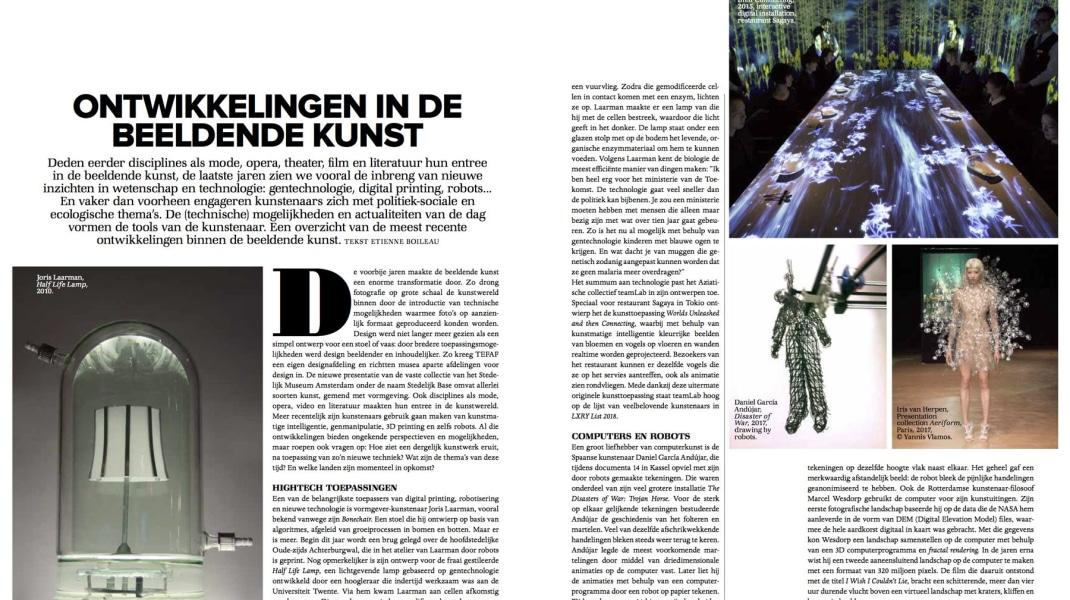 Marcel Wesdorp, Ontwikkelingen in de beeldende kunst. Kunstenaar-filosoof Marcel Wesdorp gebruikt de computervoor zijn kunstuitingen. Tekst door Etienne Boileau. LXRY Magazine 2018.