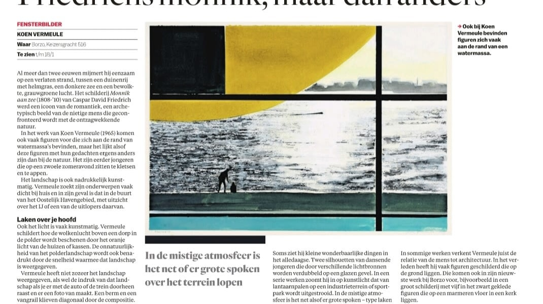 Koen Vermeule, Review of the exhibition 'Fensterbilder' at BorzoGallery in Dutch newspaper Parool (by Kees Keijer, 3 January 2020)