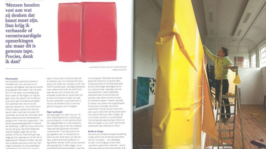 Jochem Rotteveel, Palet Magazine, Jaargang 75 juni/juli 2019.  'Jochem Rotteveel: Schilderijen van plastic' door Merel van den Nieuwenhof