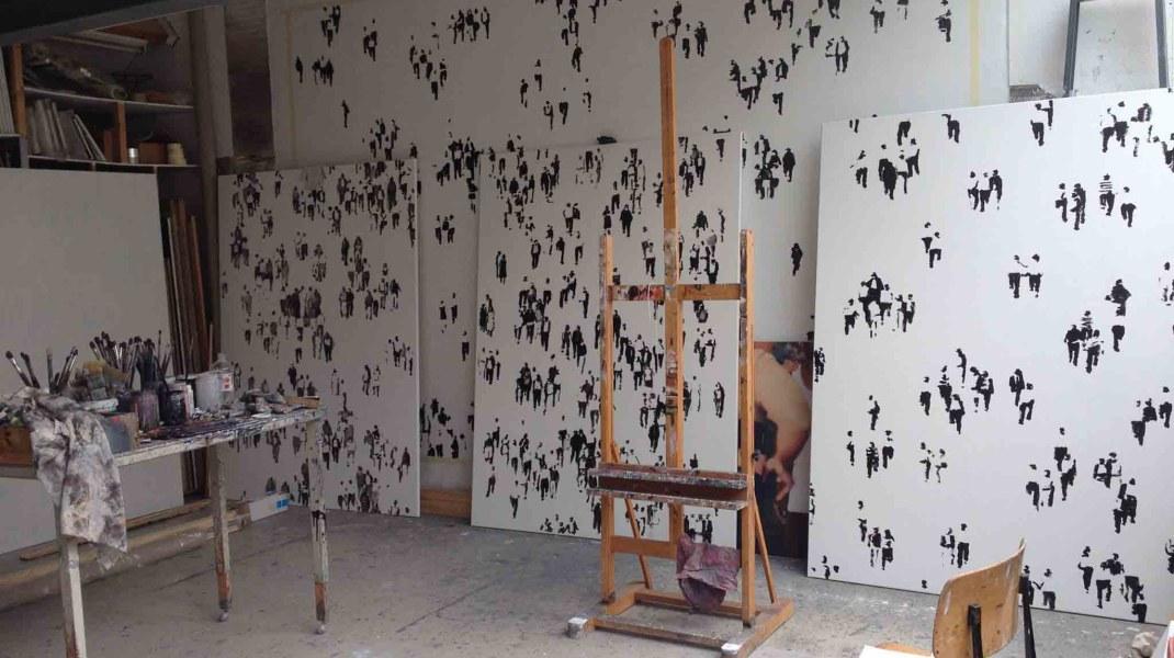 """Andrea Radai, Atelier van Andrea Radai; werken """"Crowds"""""""
